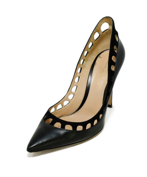 Gianvito Rossi Heels US 9 Black Leather Perforated Suede Shoes 1