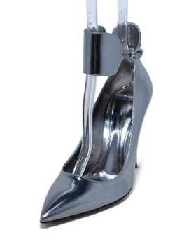 Gianvito Rossi Metallic Silver Leather Ankle Strap Heels 1