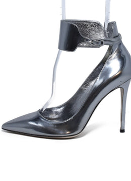 Gianvito Rossi Metallic Silver Leather Ankle Strap Heels 2