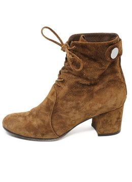 Gianvito Rossi Brown Suede Lace-Up Booties 2