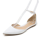 Gianvito Rossi White Leather Ankle Strap Flats 1