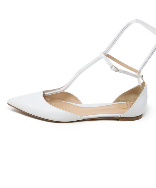 Gianvito Rossi White Leather Ankle Strap Flats 2