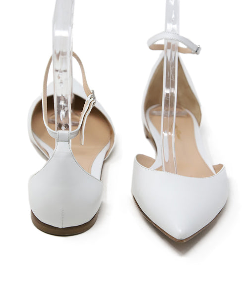 Gianvito Rossi White Leather Ankle Strap Flats 3
