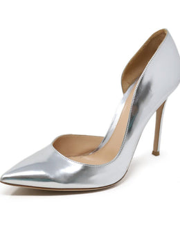 Heels Gianvito Rossi Shoe Metallic Silver Leather Shoes