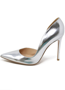 Heels Gianvito Rossi Shoe Metallic Silver Leather Shoes 1