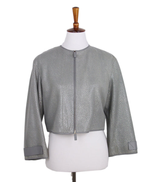 Giorgio Armani Grey leather Jacket 1