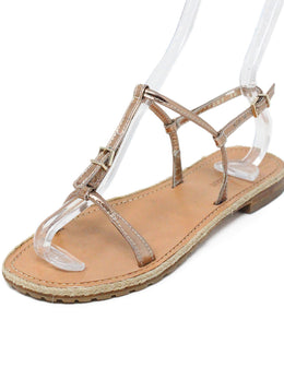 Giorgio Armani Metallic Rose Gold Leather Sandals 1