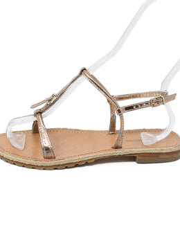Giorgio Armani Metallic Rose Gold Leather Sandals 2