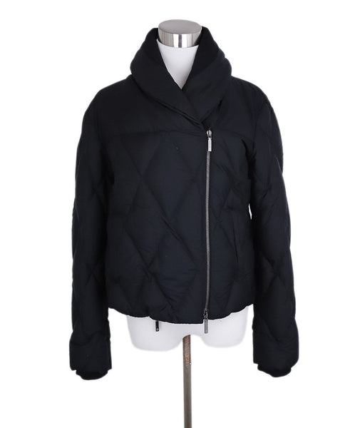 Giorgio Armani Black Quilted Silk Short Coat 1