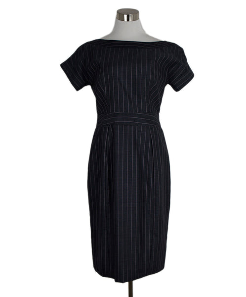 Giorgio Armani Navy Lavender Stripes Wool Silk Dress 1