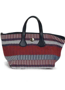 Giorgio Armani Red Blue White Canvas Leather Tote | Giorgio Armani