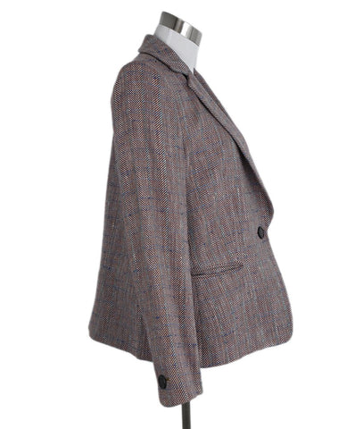 Giorgio Armani Red Blue Plaid Wool Jacket 1