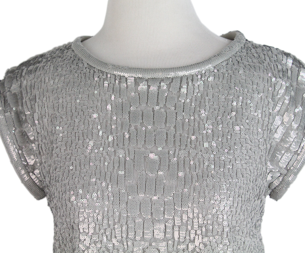 Giorgio Armani Grey Sequins Polyester Top Sz. 2