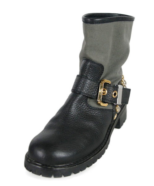 Giuseppe Zanotti Black Green Leather Canvas Boots
