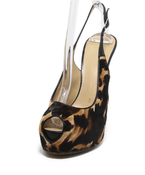 Giuseppe Zanotti Animal print fur sling backs 1