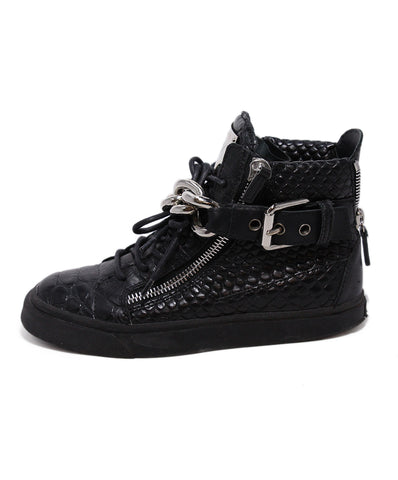 Giuseppe Zanotti Black Pressed Leather Chain Sneakers 1