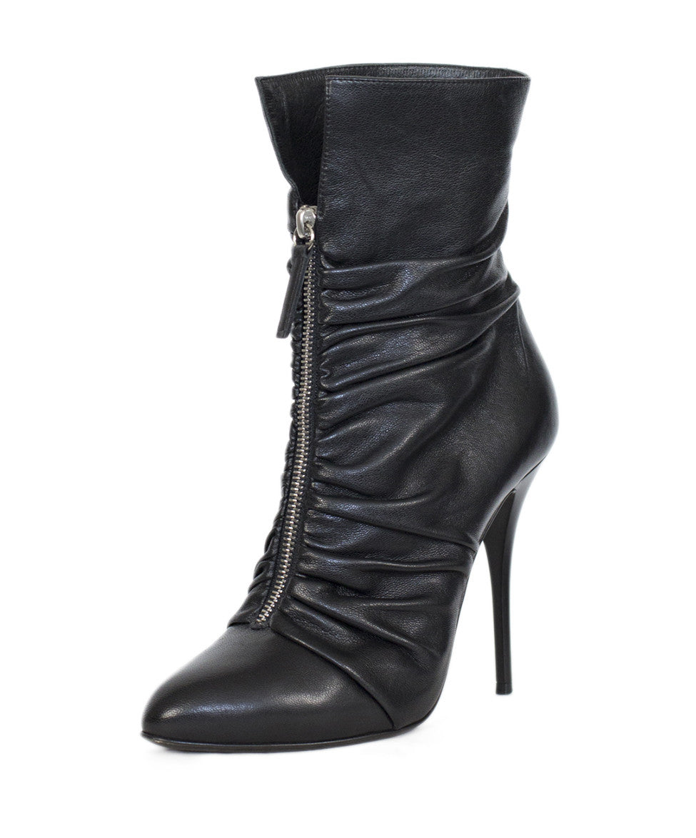 Giuseppe Zanotti Black Leather Gathered Detail Ankle Boots Sz 37.5 - Michael's Consignment NYC  - 1