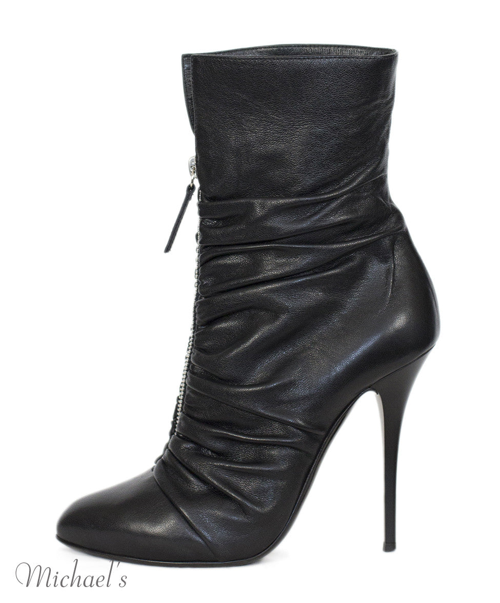 Giuseppe Zanotti Black Leather Gathered Detail Ankle Boots Sz 37.5 - Michael's Consignment NYC  - 2