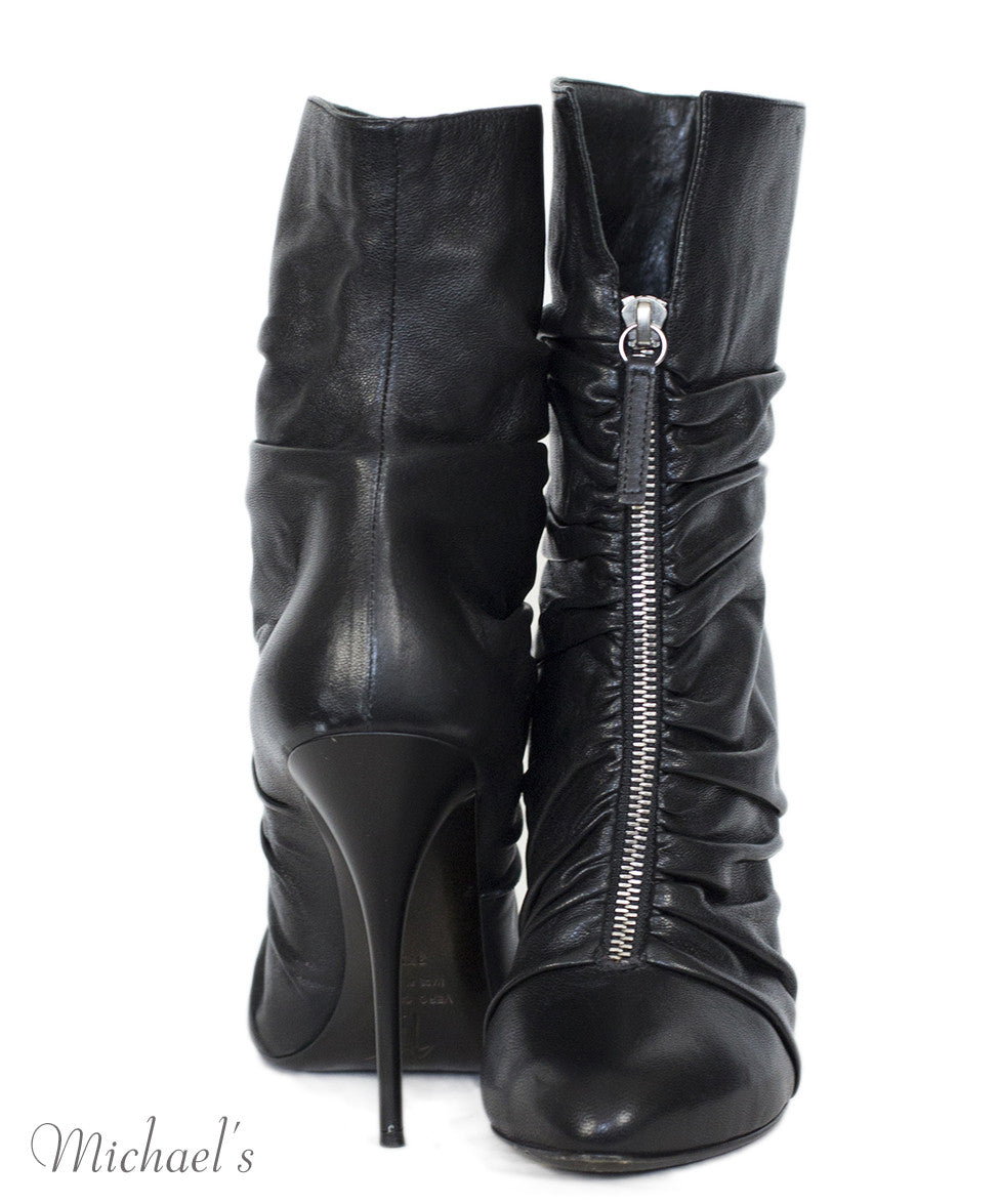 Giuseppe Zanotti Black Leather Gathered Detail Ankle Boots Sz 37.5 - Michael's Consignment NYC  - 4