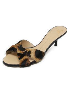 Giuseppe Zanotti Brown Black Animal Print Fur Mules 1