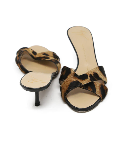 Giuseppe Zanotti Brown Black Animal Print Fur Mules 3
