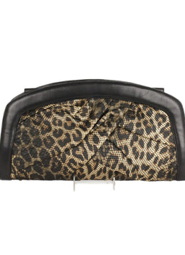 Giuseppe Zanotti Black Brown Leopard Viscose Leather Clutch Handbag 1