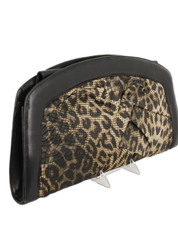 Giuseppe Zanotti Black Brown Leopard Viscose Leather Clutch Handbag 2