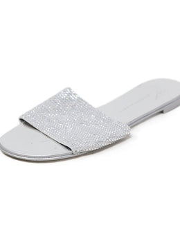 Sandals Shoe Giuseppe Zanotti Metallic Silver Crystal Beaded 1