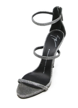 Guiseppe Zanotti Metallic Silver Leather Sandals with Ankle Strap 1