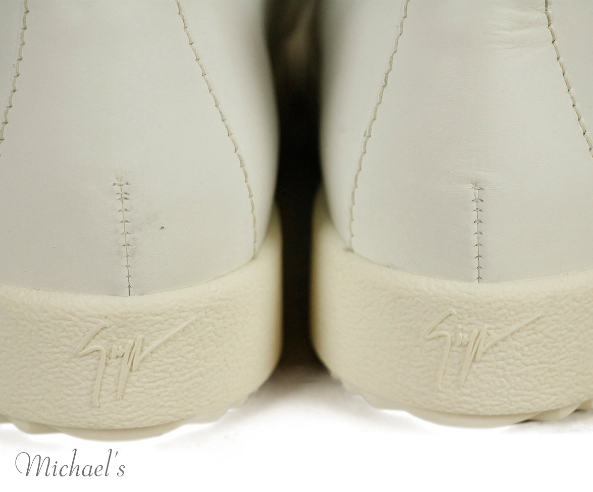Giuseppe Zanotti White Leather Gold Zipper Shoes Sz 37.5