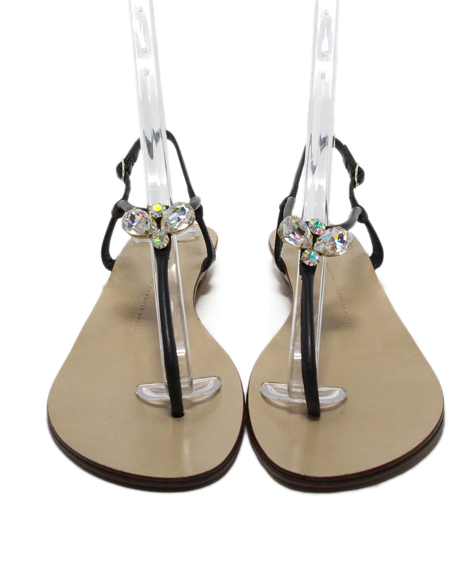 Giuseppe Zanotti black leather rhinestone sandals 4