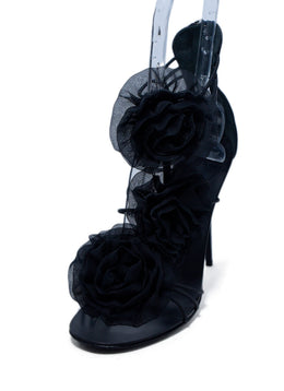 Giuseppe Zanotti Black Silk Floral Trim Leather Heels 1
