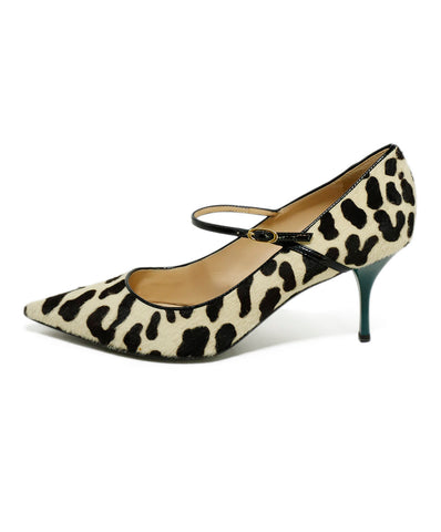 Giuseppe Zanotti Heels US 9.5 Brown Ivory Calfhair Green Heel Shoes 1