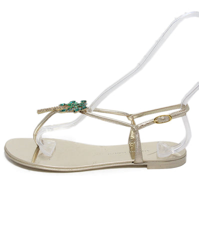Giuseppe Zanotti Metallic Gold Leather Green Rhinestone Palm Tree Sandals 1