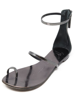 Giuseppe Zanotti Pewter Leather Sandals Sz 37.5
