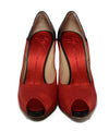Giuseppe Zanotti Red Satin Brown Leather Heels 4