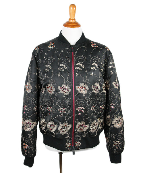 Givenchy Black Polyamide Embroidery Sequins Jacket Sz 44