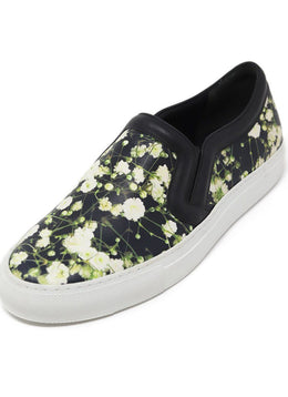 Givenchy Black White Green Floral Leather Sneakers