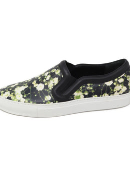 Givenchy Black White Green Floral Leather Sneakers 1