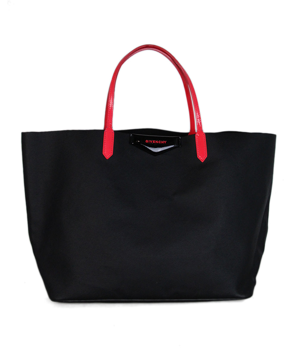 Givenchy Black Leather Tote Neon Pink Trim 1