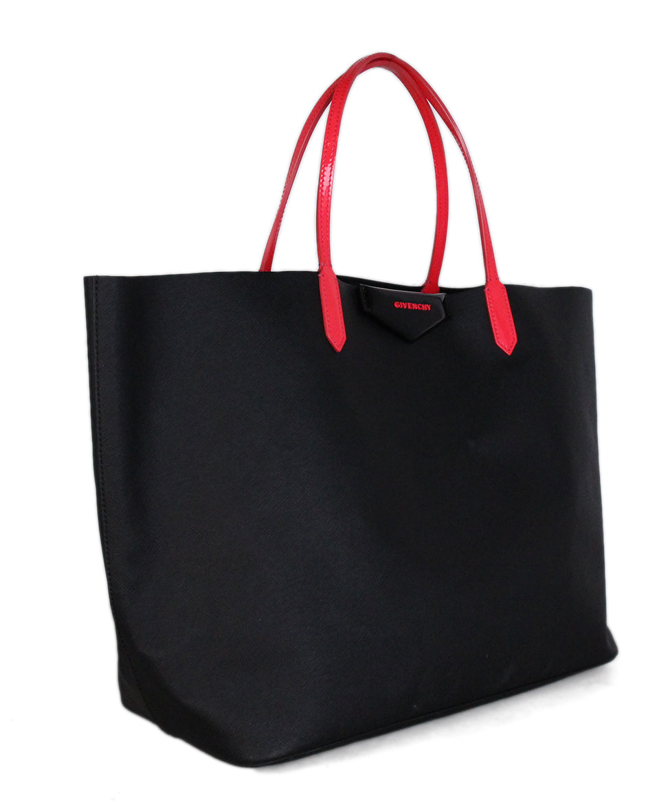 Givenchy Black Leather Tote Neon Pink Trim 2