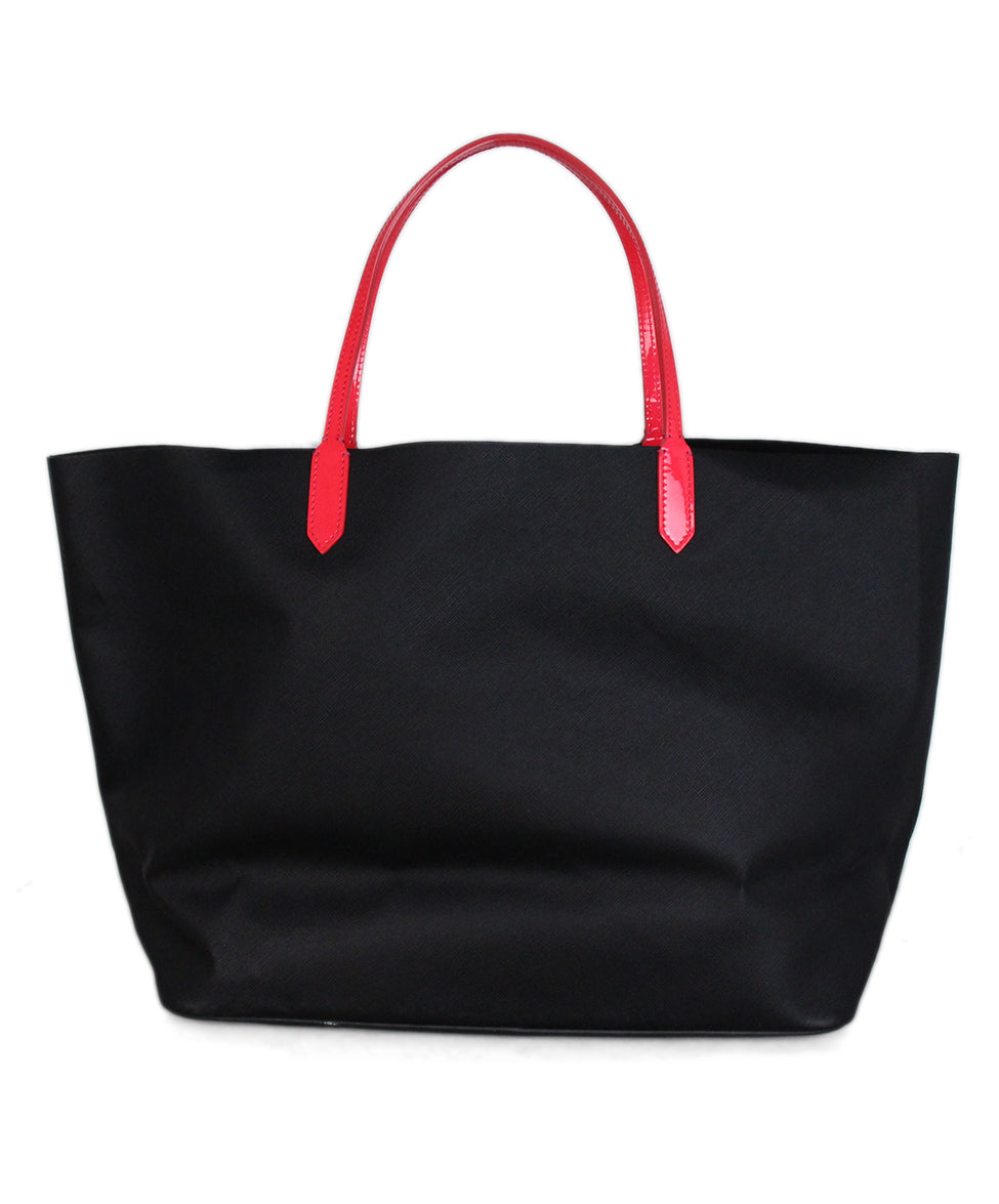 Givenchy Black Leather Tote Neon Pink Trim 3