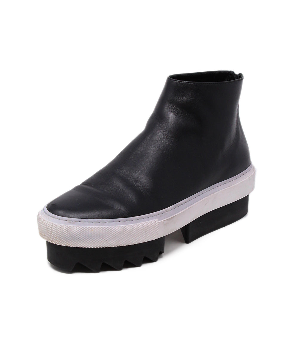 Givenchy Black Leather White Trim Booties 1