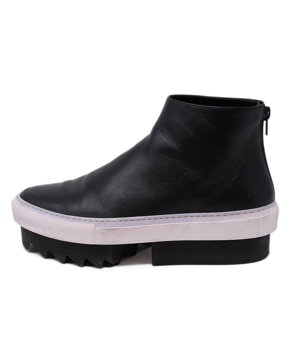 Givenchy Black Leather White Trim Booties 2