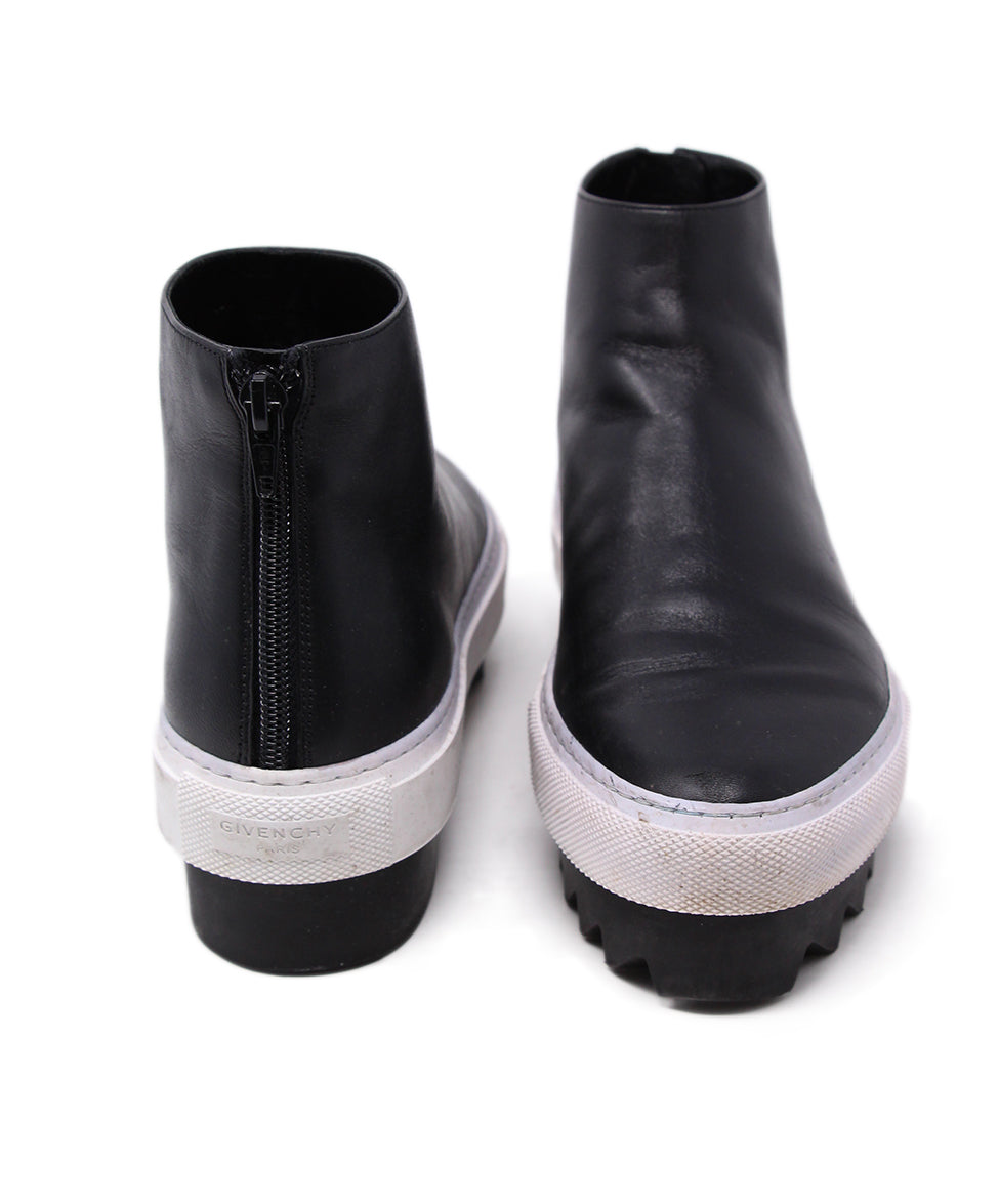 Givenchy Black Leather White Trim Booties 3