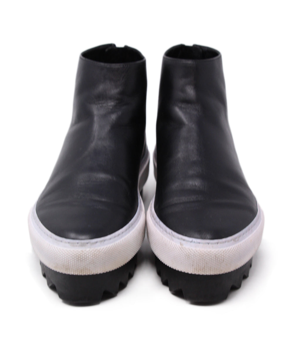 Givenchy Black Leather White Trim Booties 4
