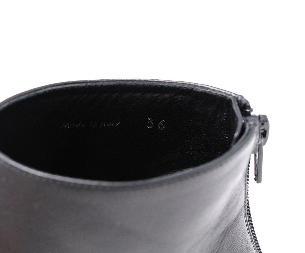Givenchy Black Leather White Trim Booties 7