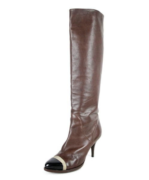 "Givenchy US 10 Brown Leather Gold Patent Trim ""as is"" Boots"