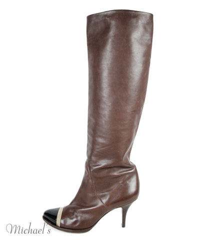 Givenchy Brown Leather Gold Patent Leather Boots Sz 40