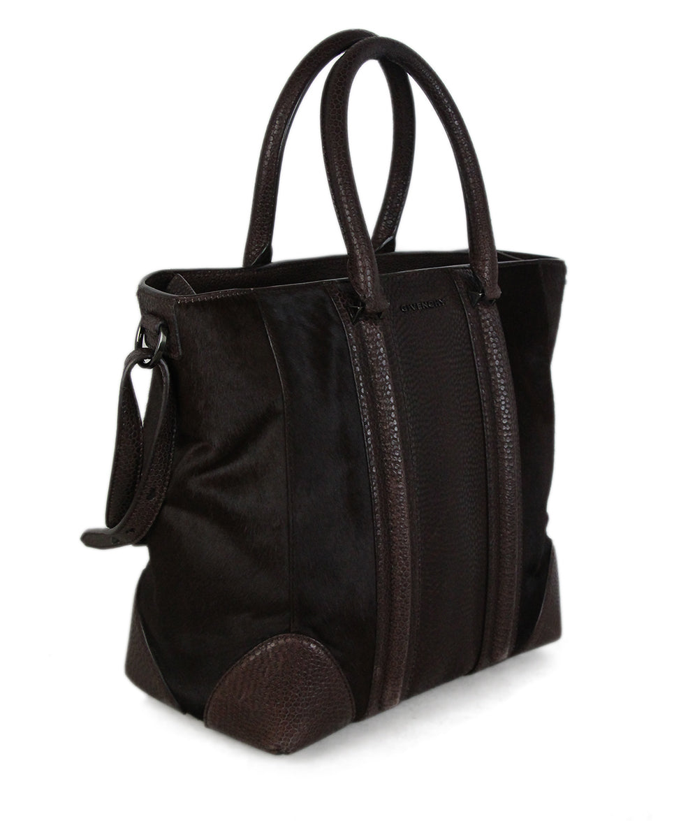 Givenchy Brown Pressed Leather Brown Calf Hair Tote 2